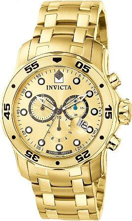 Relógio Invicta Masculino Todo Dourado Pro Diver Modelo 0074