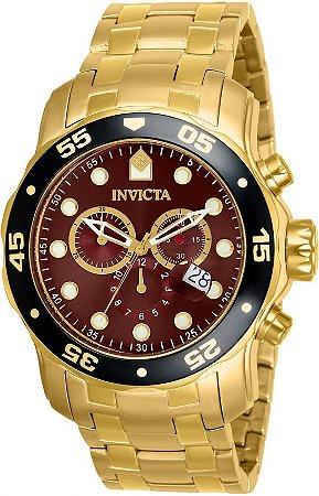 Relógio Invicta Masculino Pro Diver Dourado Modelo 80065