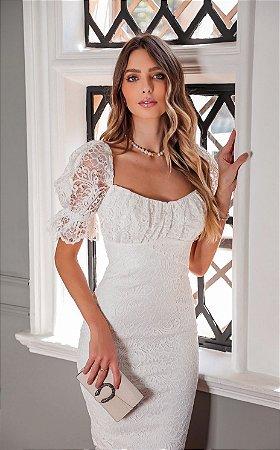 Vestido Midi Branco Nadja Doce Maria