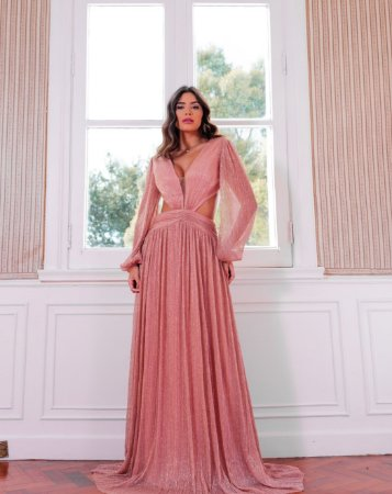 Vestido com recorte em Lurex Muriel