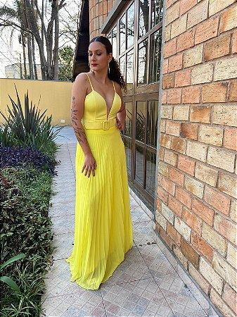 Vestido longo Amarelo Simone