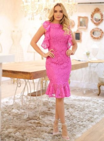 Vestido em Renda Pink Doce Maria