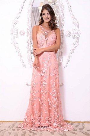 Vestido Bordado em Tule Rosa com Hotpaint