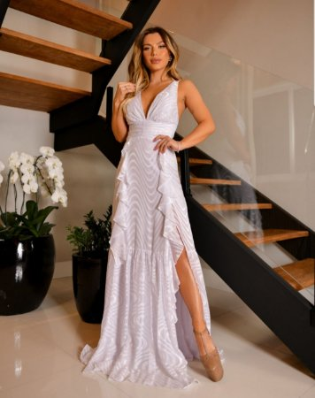 Vestido fluído com babado e fenda Julia