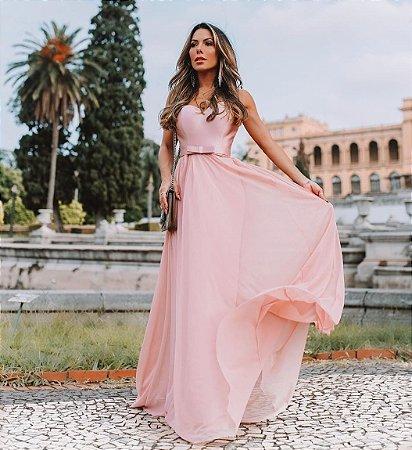 Vestido longo com cinto Anabela