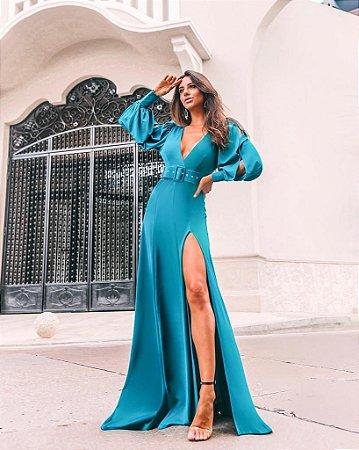 Vestido Tiana com cinto Azul Turquesa