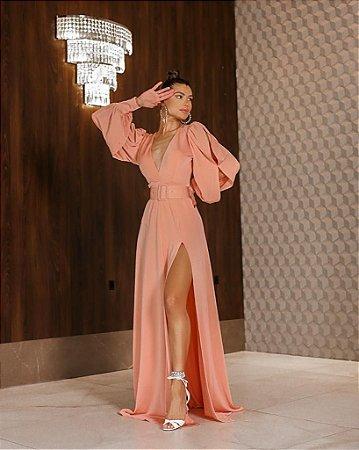 Vestido Tiana com cinto Rose