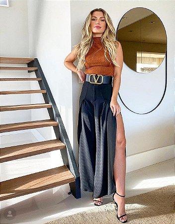 Calça Pantacourt com Fenda Dot Clothing