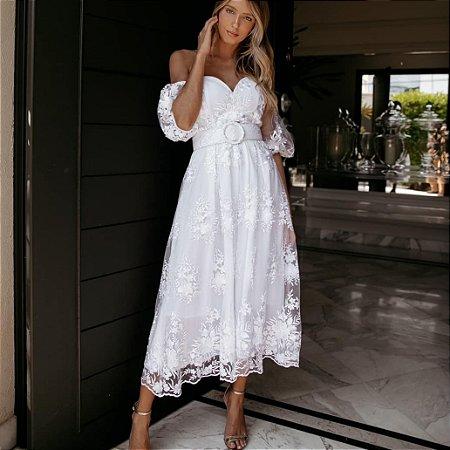 Vestido Midi Luxo Safira Noiva