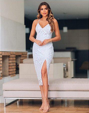 Vestido Midi Branco em Renda Safira