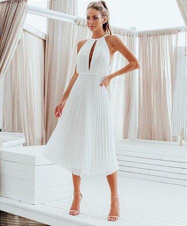 Vestido Midi Plissado Diana