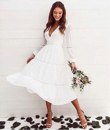 Vestido Midi Branco Minerva