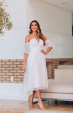 Vestido Midi Branco em Organza Acetinada Mia