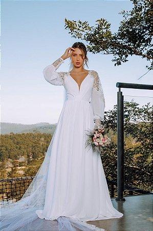 Vestido de noiva com manga longa Doce Maria