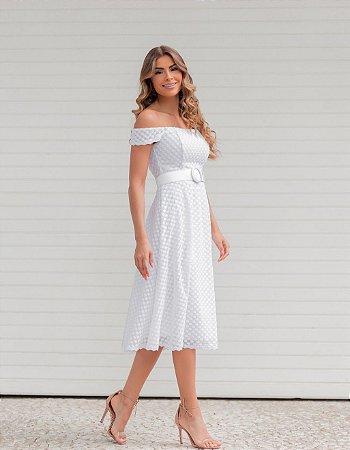 Vestido midi branco em poá bordado