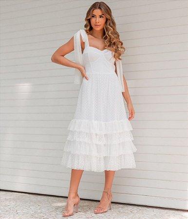 Vestido longuete em tule poá Isabella