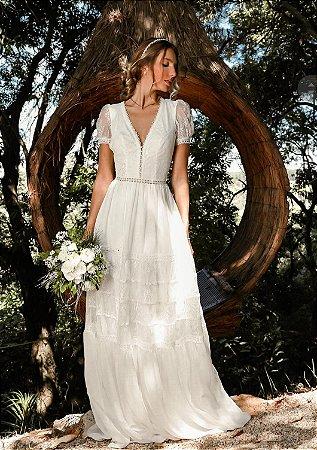 Vestido longo Branco Doce Maria
