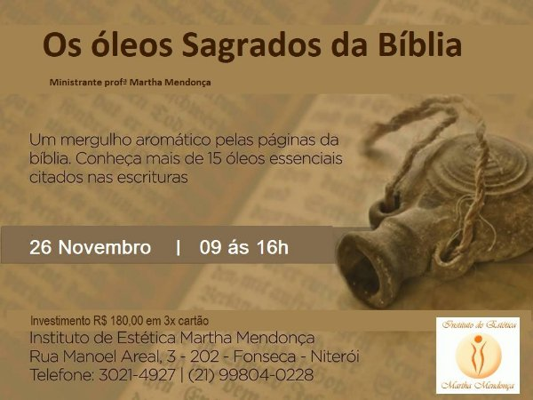Inscrição Curso  Os  Óleos Sagrados da Bíblia