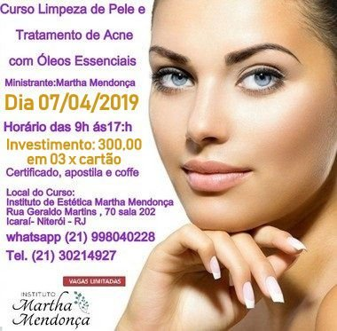 Inscrição;  Curso de Limpeza de pele e tratamento de acne com óleos essenciais