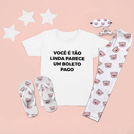 Combo Pijama longo + Camiseta Curta Boleto Pago