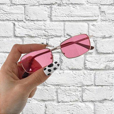 Óculos de Sol Sunglasses Retangular Rosa