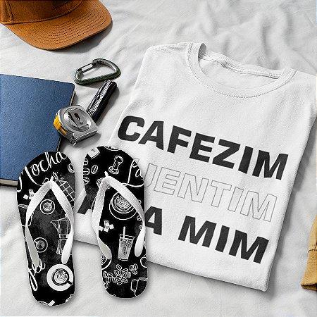 Combo Café Quentim: T-shirt Branca + Chinelo de dedo