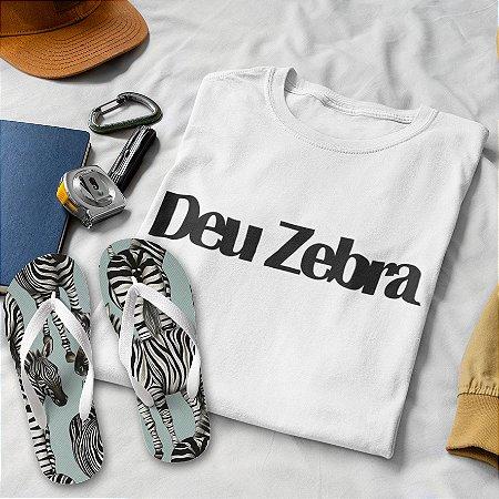 Combo Deu Zebra: T-shirt Branca + Chinelo de dedo