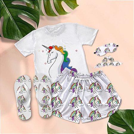 Conjunto Pijama Unicórnio Colorido + Chinelo de dedo