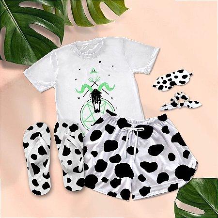 Conjunto Pijama Vaca Verde Neon  + Chinelo de dedo
