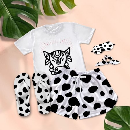 Conjunto Pijama Cow Print Colar + Chinelo de dedo