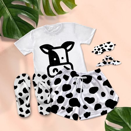 Conjunto Pijama Cow Print Preta + Chinelo de dedo