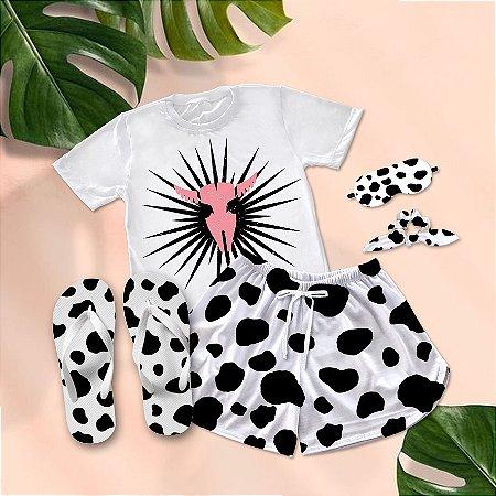Conjunto Pijama Cow Print + Chinelo de dedo