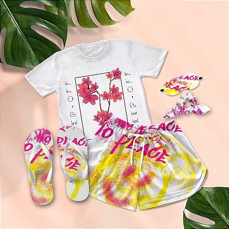 Conjunto Pijama Floral  + Chinelo de dedo