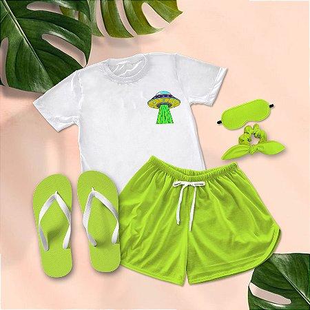Conjunto Pijama Disco Voador + Chinelo de dedo