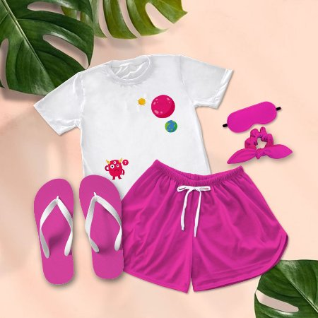Conjunto Pijama Planeta  + Chinelo de dedo