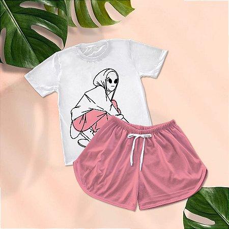 Conjuntinho Pijama Shorts e Camiseta Alien Skate