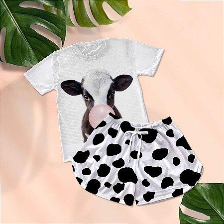 Conjuntinho Pijama Shorts e Camiseta Vaca Babalu