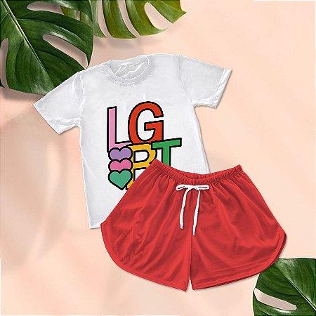 Conjuntinho Pijama Shorts e Camiseta LGBT