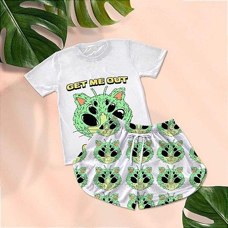 Conjuntinho Pijama Shorts e Camiseta Get Me Out