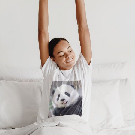 Camisola Feminina Branca Manga Curta Estampa Panda