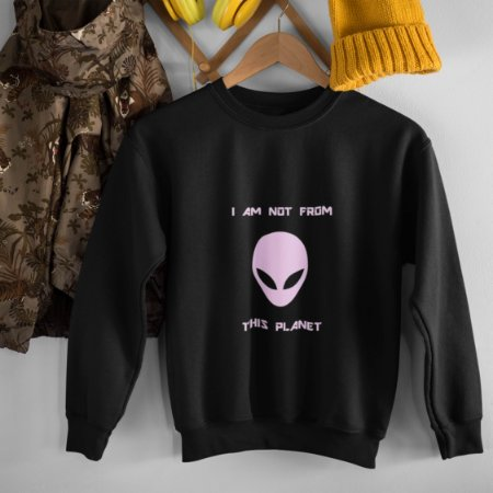 Moletom Peluciado Preto Alien