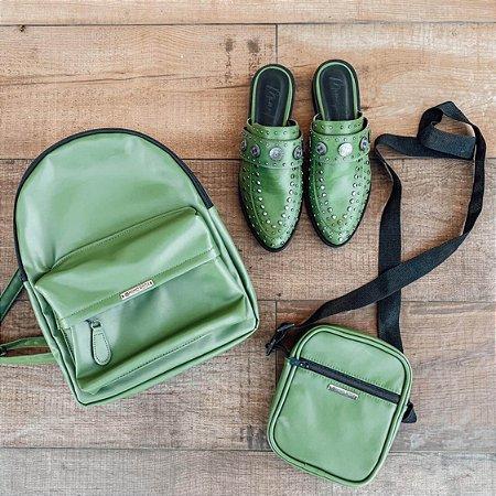 Combo: shoulder bag + mochila + Mule Verde Musgo