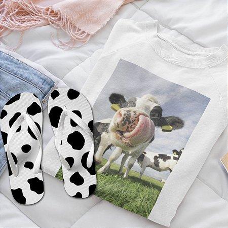 Combo Vaca: Moletom Branco + Chinelo de dedo