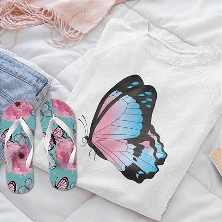 Moletom Peluciado Branco borboleta