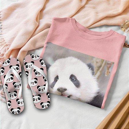 Combo Panda: T-shirt  + Chinelo de dedo