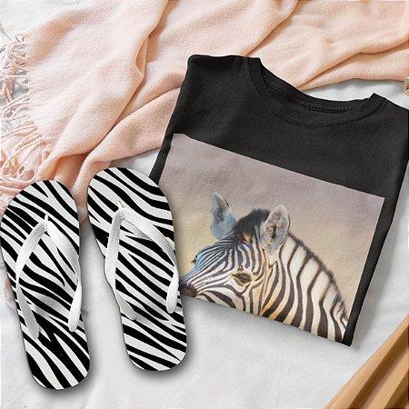 Combo Zebra:  T-shirt  + Chinelo de dedo
