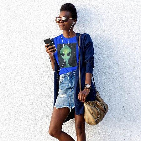 T-Shirt Azul Alien Verde