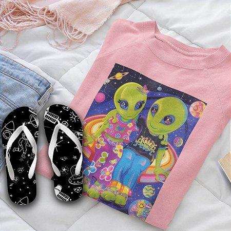 Combo Alien: Moletom Rosa + Chinelo
