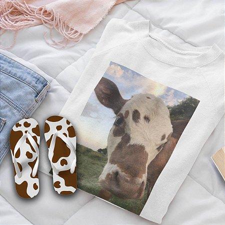 Combo Vaca : Moletom Branco + Chinelo de dedo