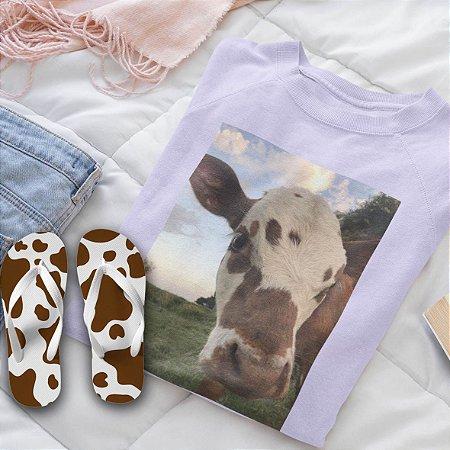Combo Vaca : Moletom Lilás + Chinelo de dedo